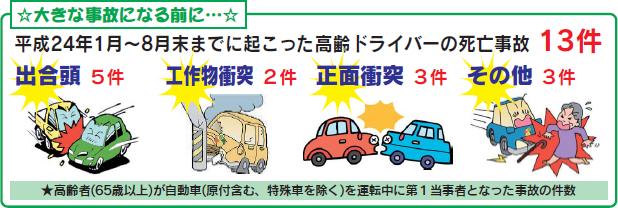 平成24年1月~8月末までに起こった高齢ドライバーの死亡事故